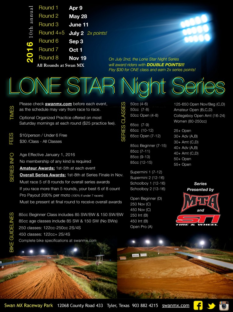 2016 Lone Star Night Series Flier