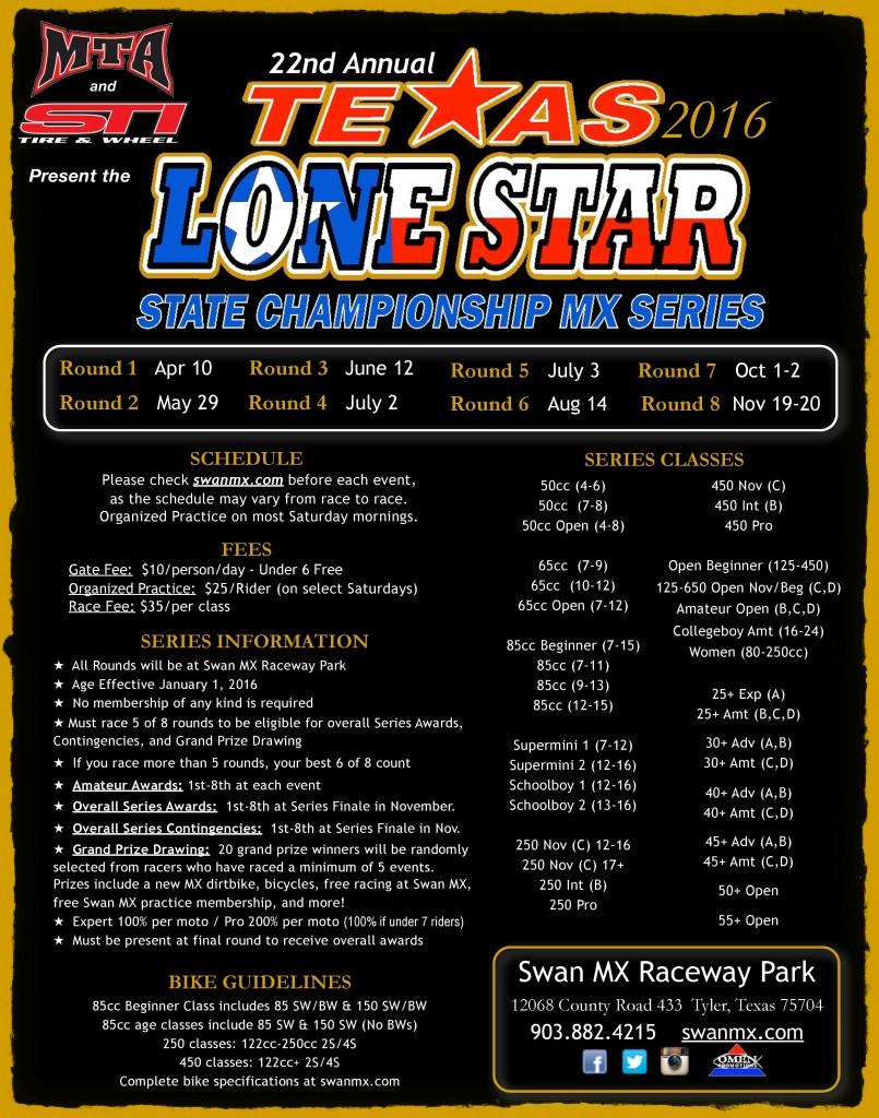 2016 Texas Lone Star Series Flier